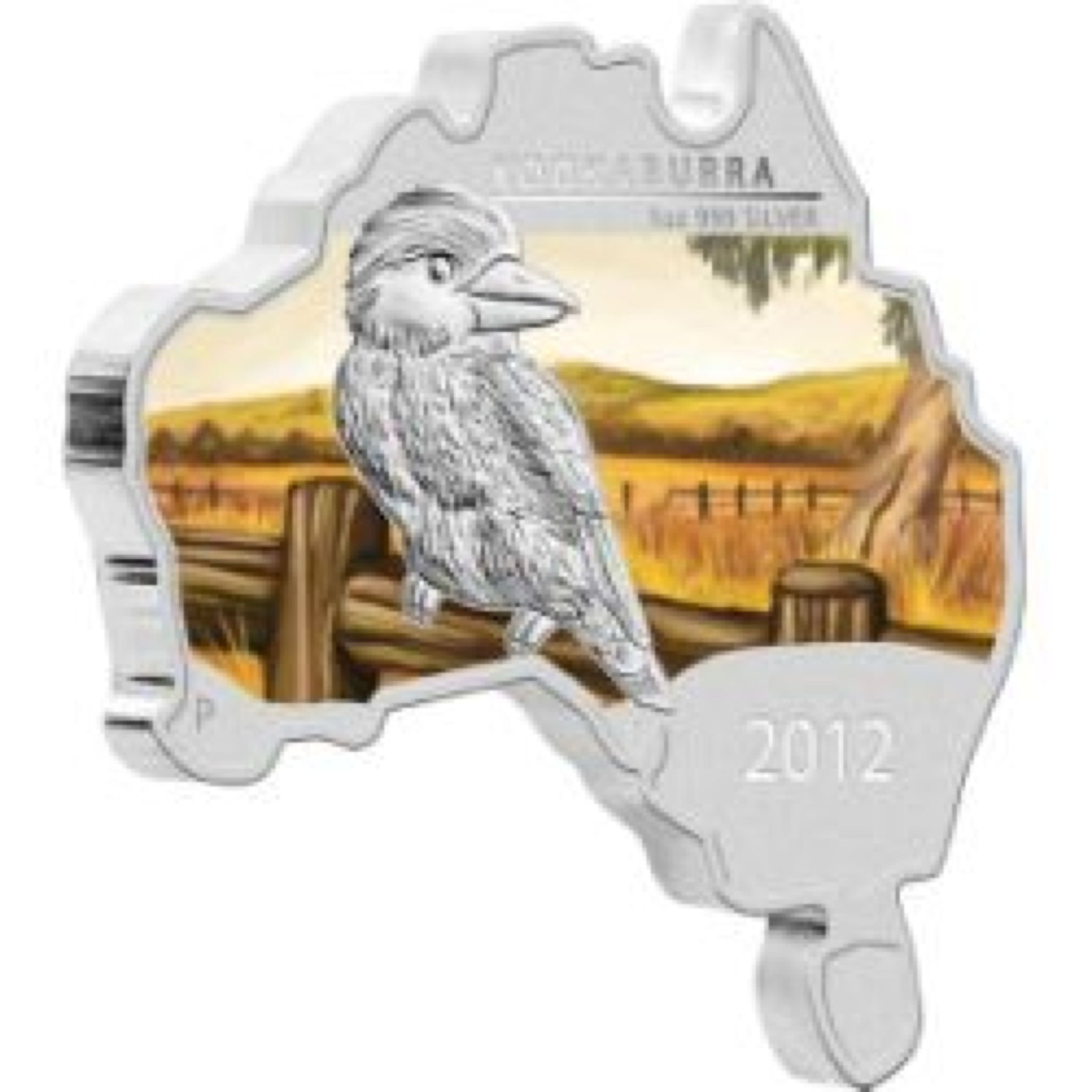 2012 Kookaburra 1oz Map Shape Coin - $1 (2012) front image (front cover)