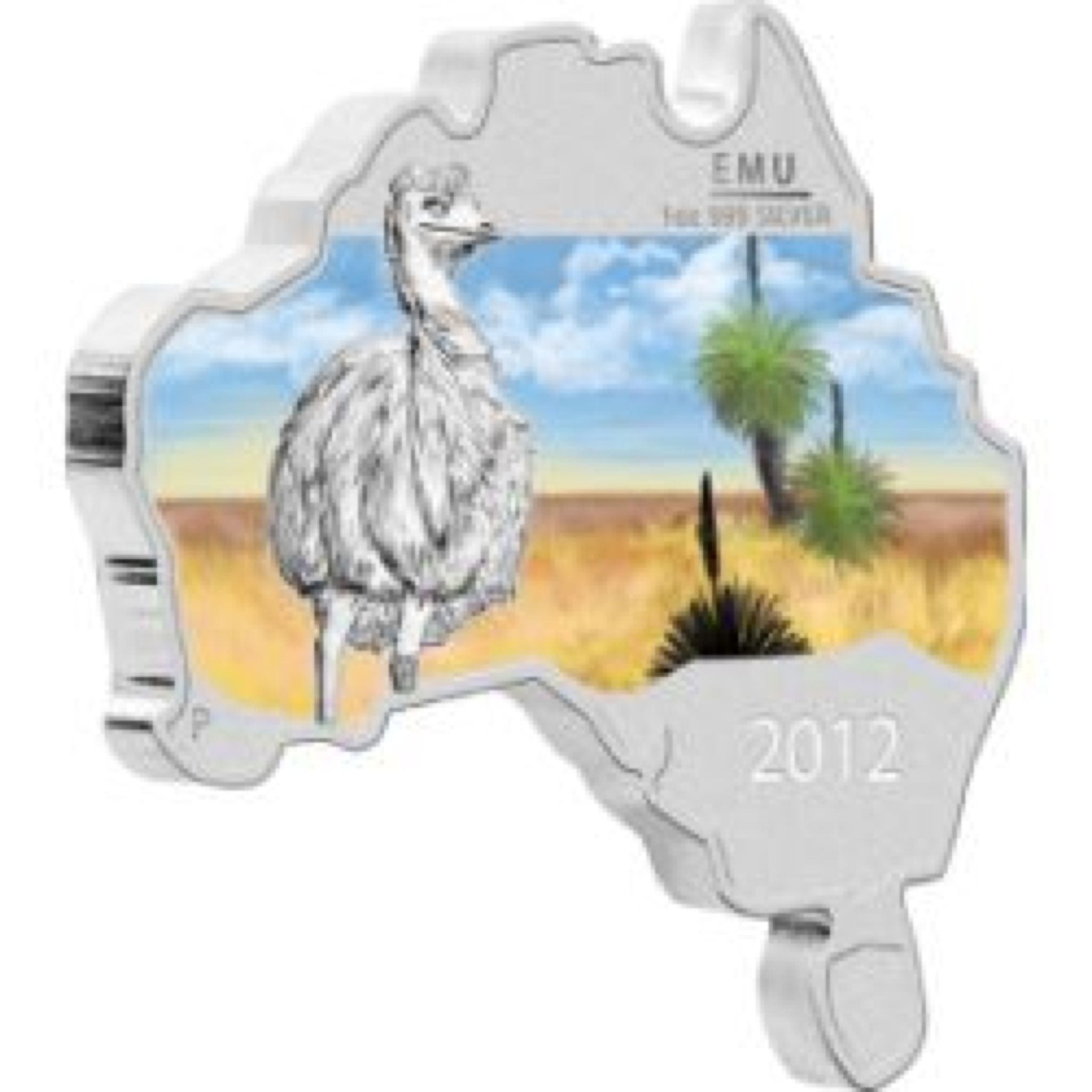 2012 Emu 1oz Map Shape Coin - $1 (2012) front image (front cover)