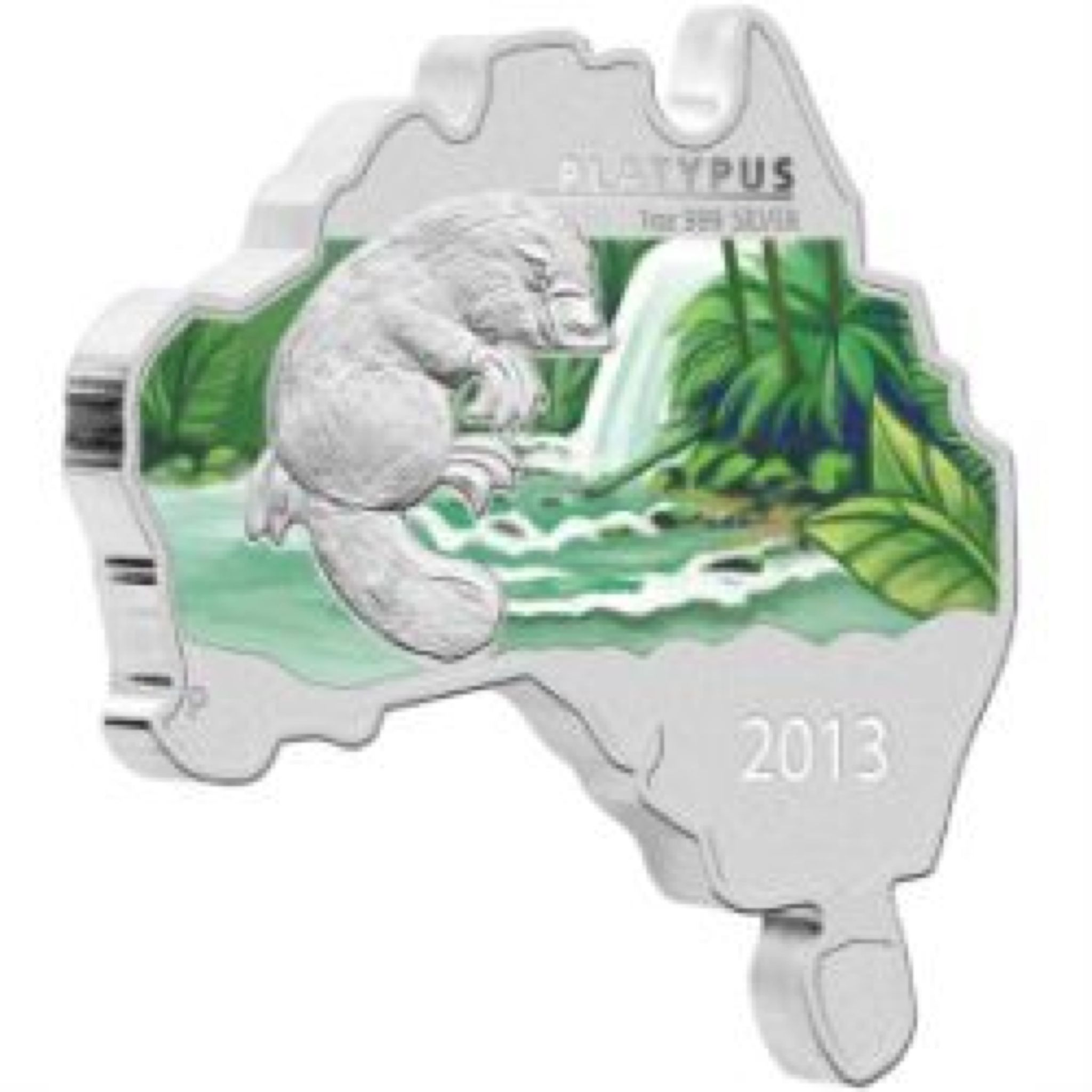 2013 Platypus 1oz Map Shape Coin - $1 (2013) front image (front cover)
