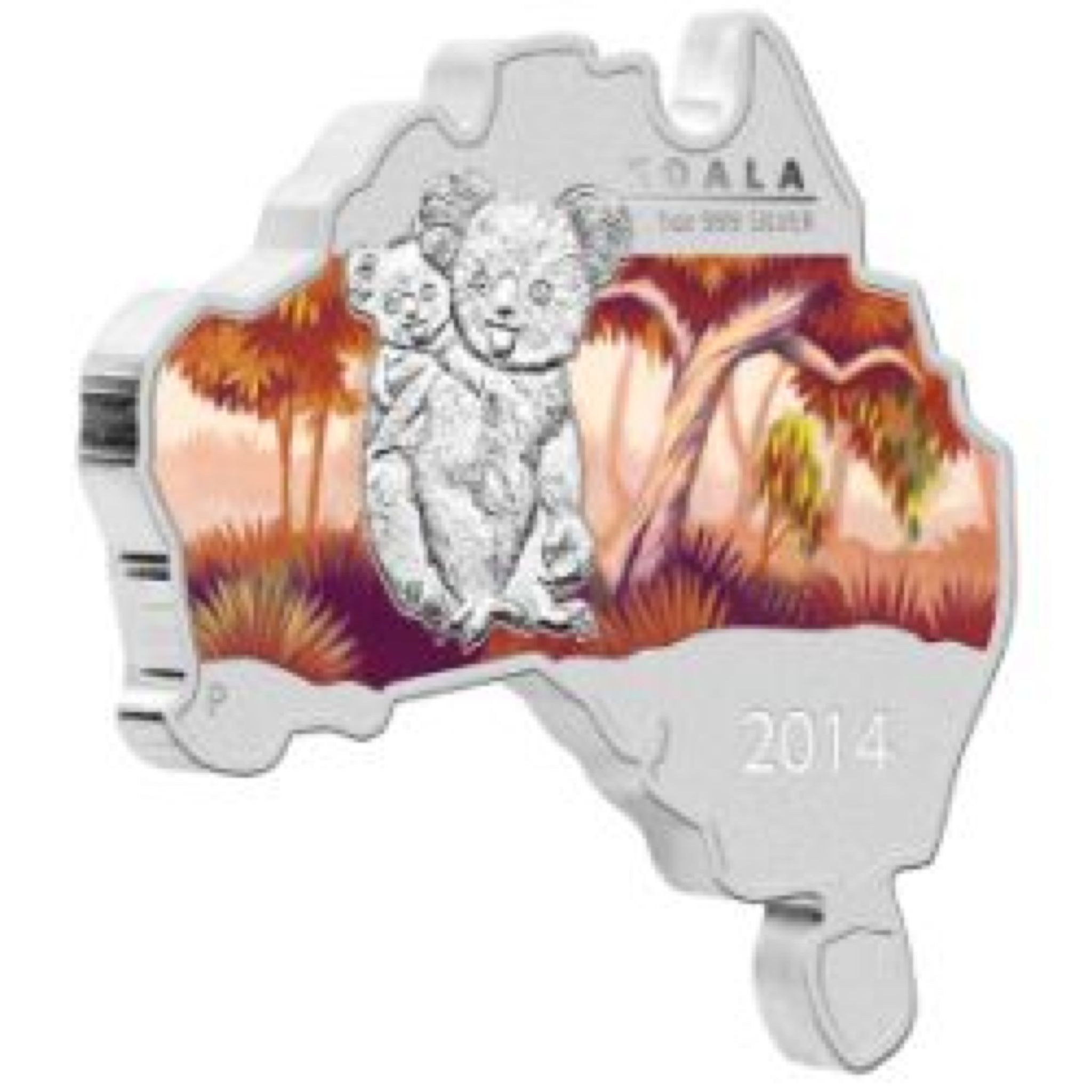 2014 Koala 1oz Map Shape Coin - $1 (2014) front image (front cover)
