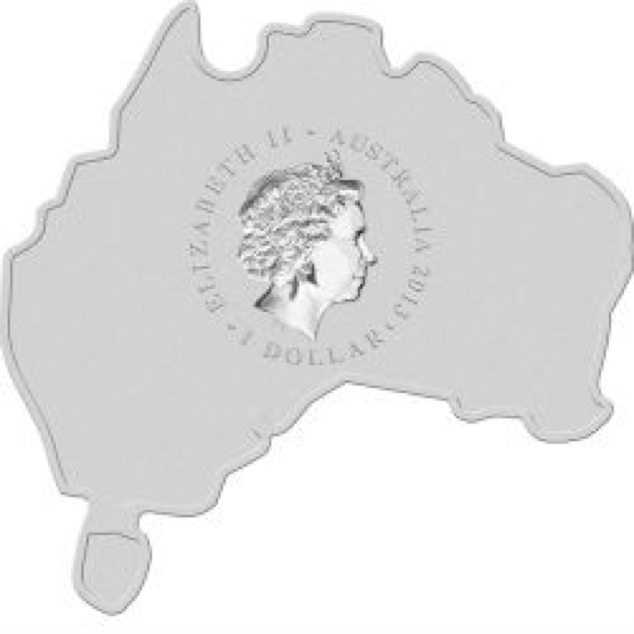 2013 Kangaroo 1oz Map Shape Coin - $1 (2013) back image (back cover, second image)