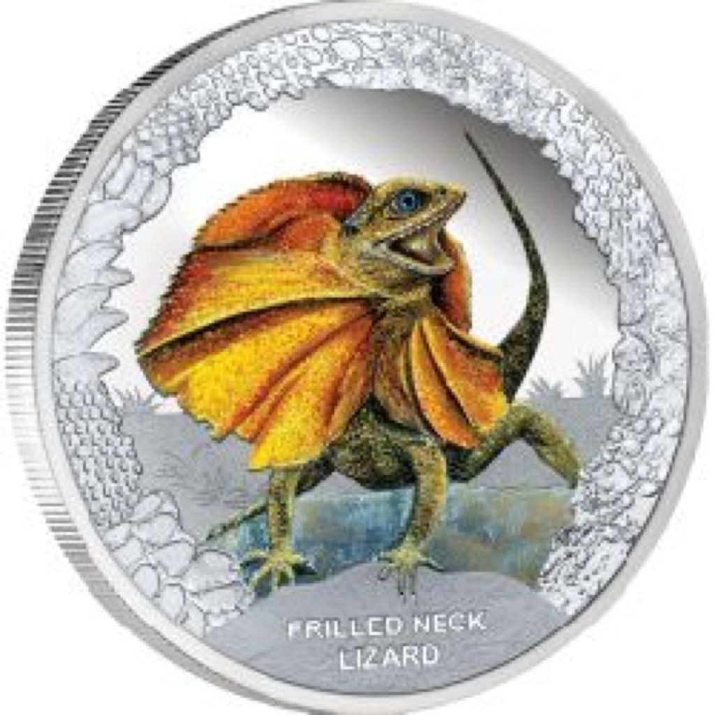 2013 Frilled Neck Lizard Coin - $TVD 1 (2013) front image (front cover)