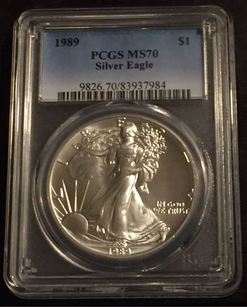 1989 Silver Eagle Coin - $1 (1989) front image (front cover)
