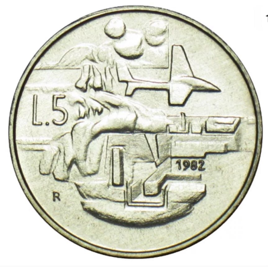 San Marino 5 Lire Coin (1982) front image (front cover)
