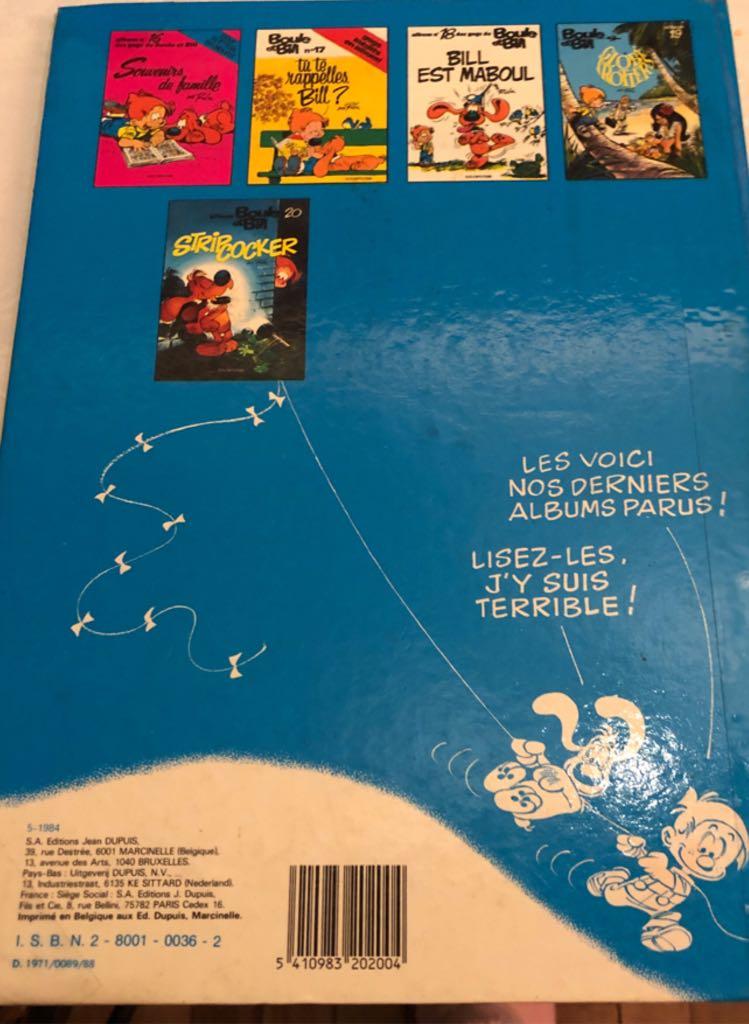 Boule et Bill 7 Comic Book - Dupuis (7) back image (back cover, second image)