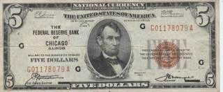 1929 $5 Federal Reserve Bank Note Currency - USA front image (front cover)