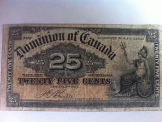 1900 25¢ Currency - Canada (1900) front image (front cover)