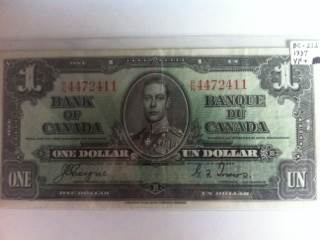 1937 $1 Currency - Canada (1937) front image (front cover)