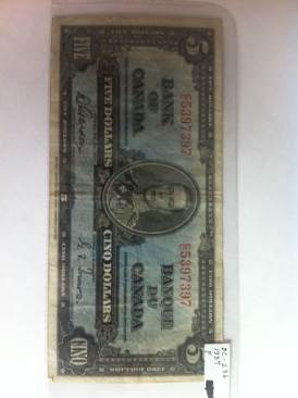 1937 $5 Currency - Canada (1937) front image (front cover)