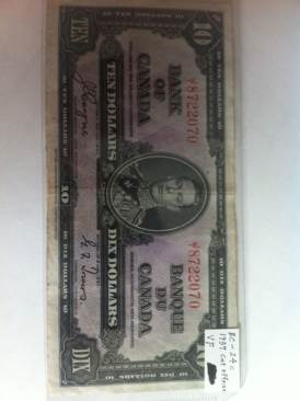1937 $10 Currency - Canada (1937) front image (front cover)