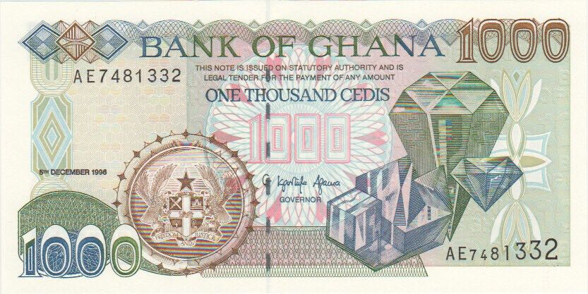 1000 Bank of Ghana Currency - Ghana (2018) front image (front cover)
