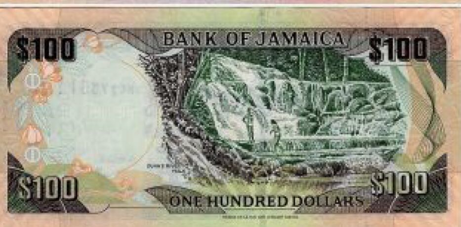 $100 Bank of Jamaica Currency - Jamaica (2018) back image (back cover, second image)