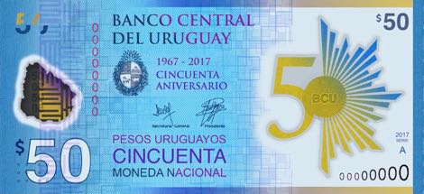 Uruguay 50 Pesos Currency - Uruguay (2018) front image (front cover)