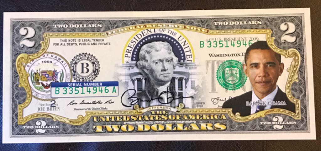 Obama Two Dollar Bill Currency (2008) front image (front cover)