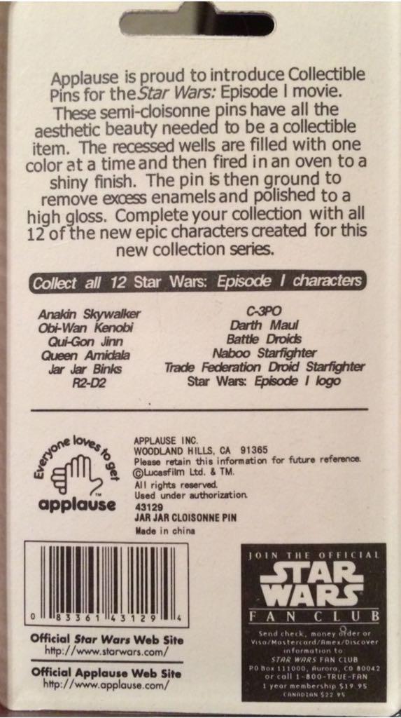 Star Wars Episode I Collectors Pin 5 Of 12 Disneypin back image (back cover, second image)