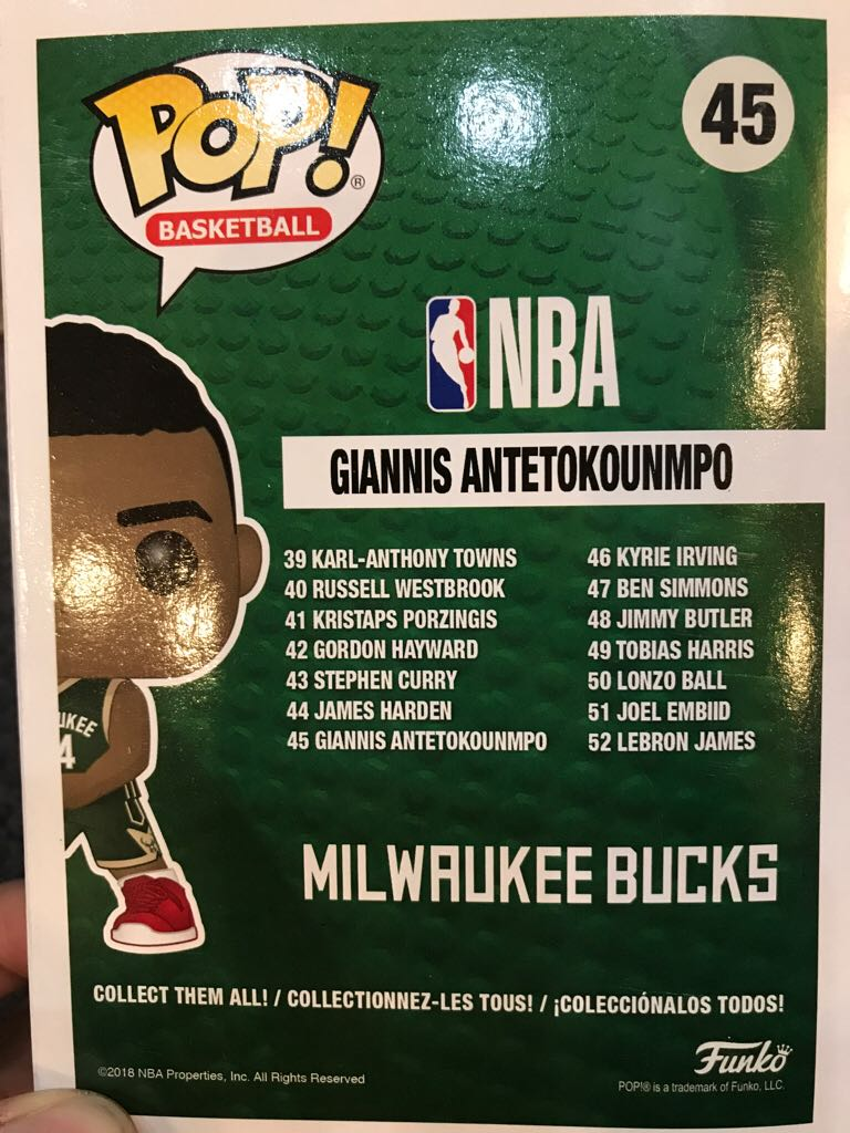 Giannis Antetokunmpo Funko - POP! Basketball (45) back image (back cover, second image)