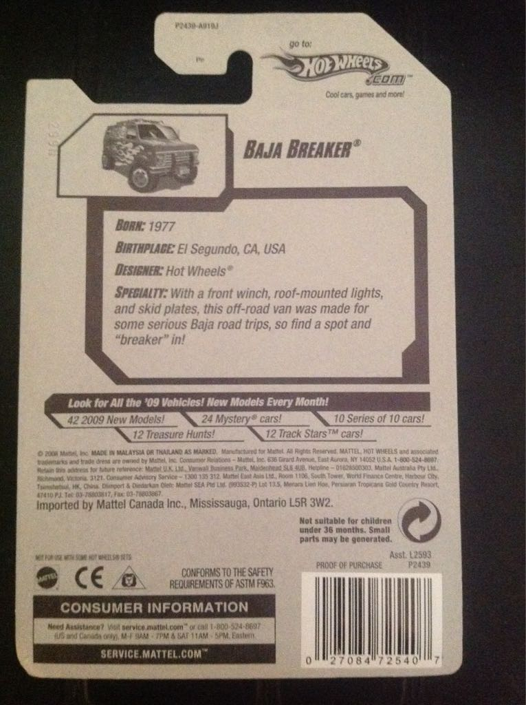 2009 Hot Wheels Baja Breaker Toy Car, Die Cast, And Hot Wheels - Baja Breaker (2009) back image (back cover, second image)
