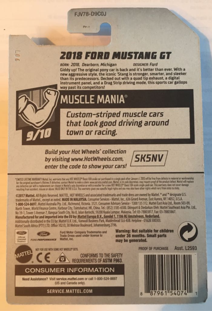 2018 Ford Mustang GT Toy Car, Die Cast, And Hot Wheels