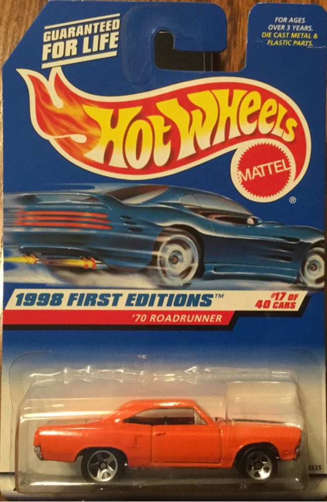 '70 Roadrunner Toy Car, Die Cast, And Hot Wheels - '70 Roadrunner (1998) front image (front cover)
