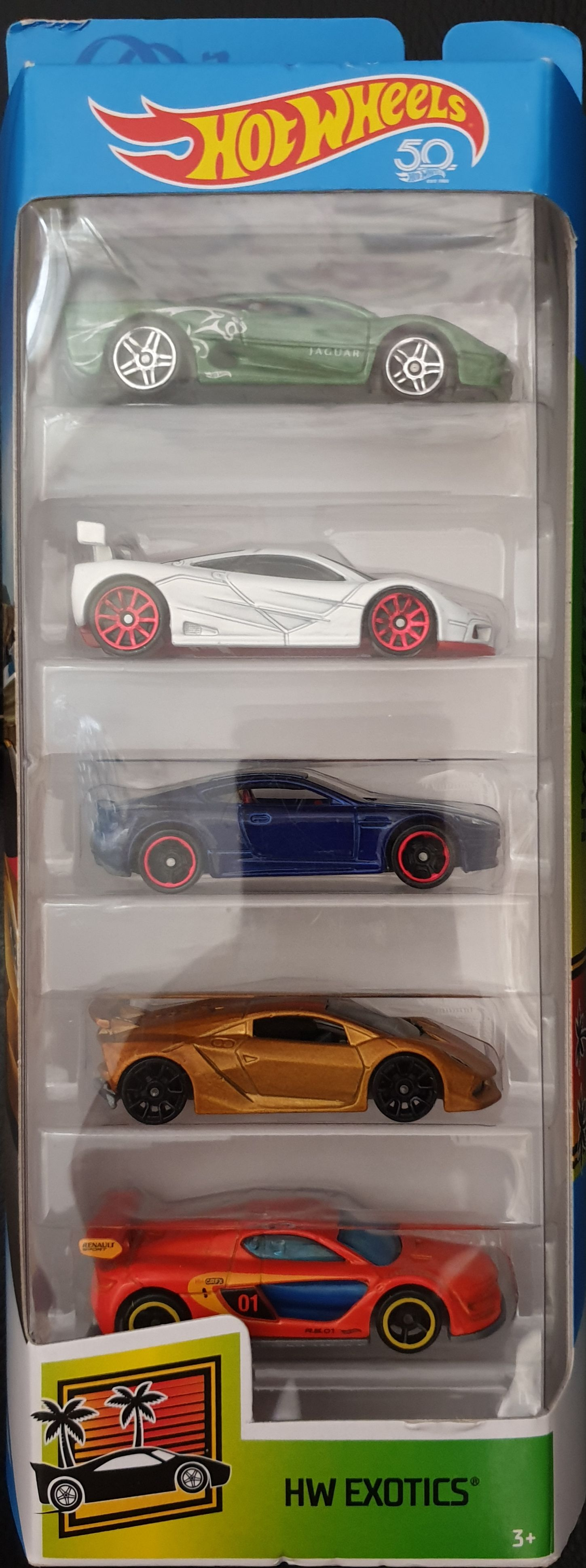 2018 HW Exotics 5 Pack : Renault Sport R.S. 01 Toy Car, Die Cast, And Hot Wheels (2018) back image (back cover, second image)