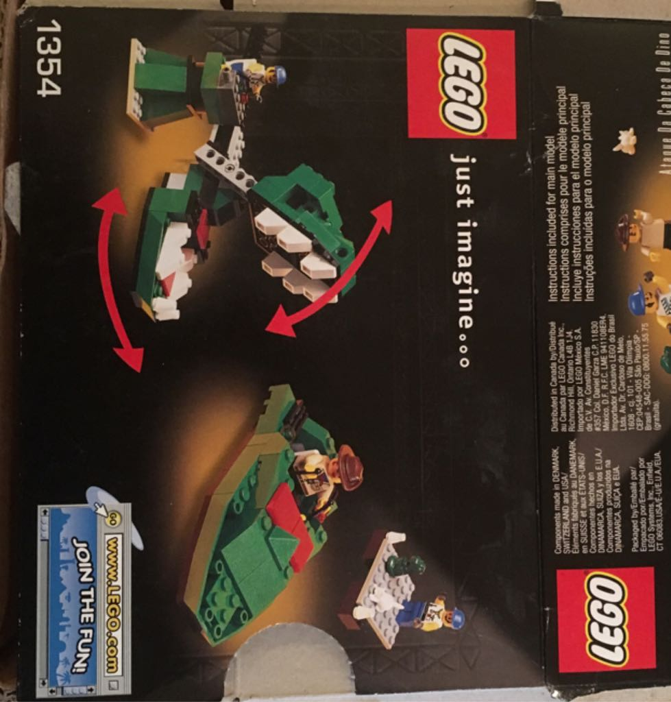 Lego Studios Dino Head Attack #1354 Complete SetBox LEGO (1354) back image (back cover, second image)