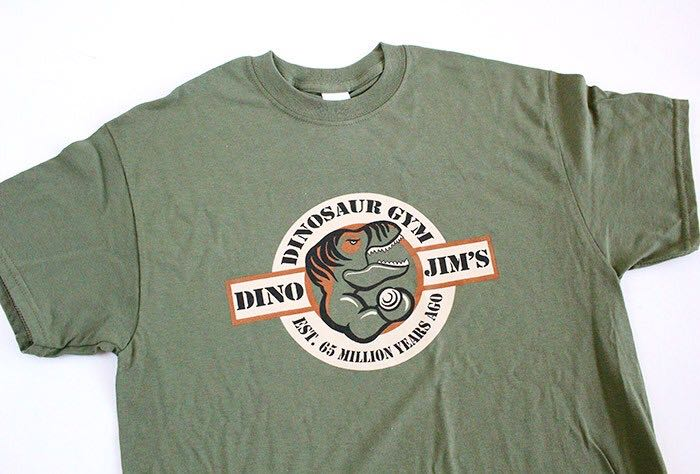"""Dino Jim's"" Dinosaur Gym T-Shirt LEGO - Apparel (N/A) front image (front cover)"