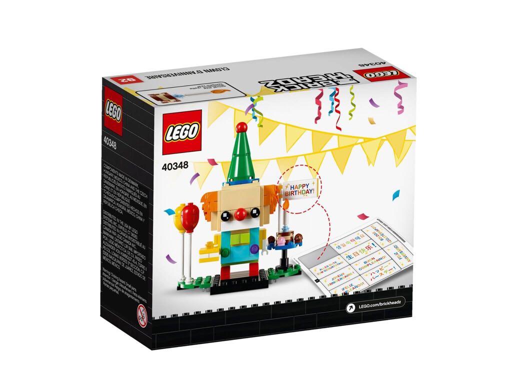 LEGO Brickheadz - Birthday Clown LEGO - Brick Headz (40348) back image (back cover, second image)