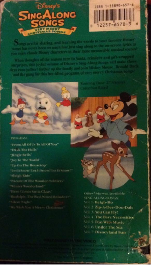 Disney Sing Along Songs Christmas Vhs.Disney Sing Along Songs Very Merry Christmas Songs Movie