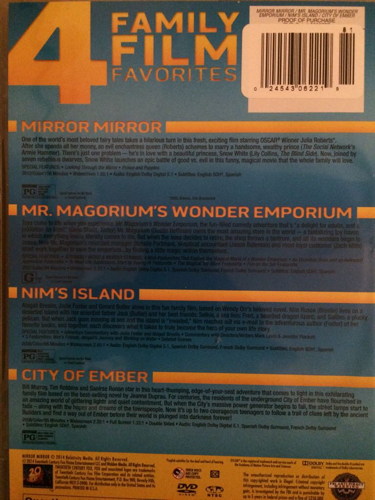 4 family film favorites mirror mirror mr magorium 39 s for Mirror mirror cast