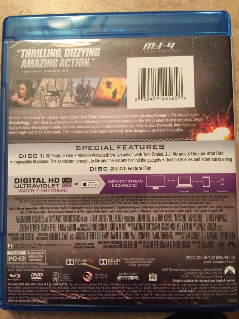 Mission: Impossible - Ghost Protocol Movie - Blu-ray/DVD
