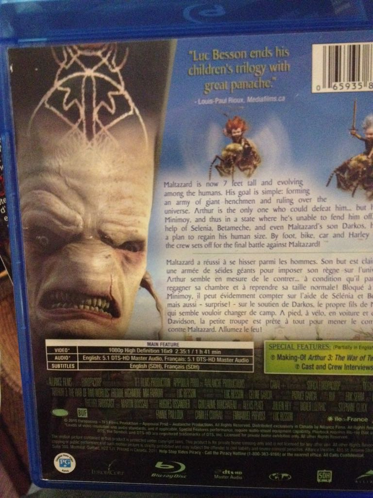 Arthur And The Invisibles 3 The War Of The Two Worlds Movie Blu Ray From Sort It Apps