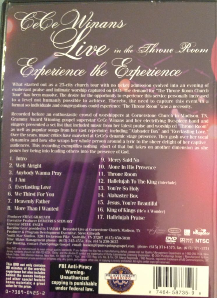 Cece Winans Live In The Throne Room Dvd Tracklist