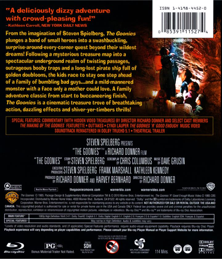 The Goonies Movie - DVD (USA) back image (back cover, second image)