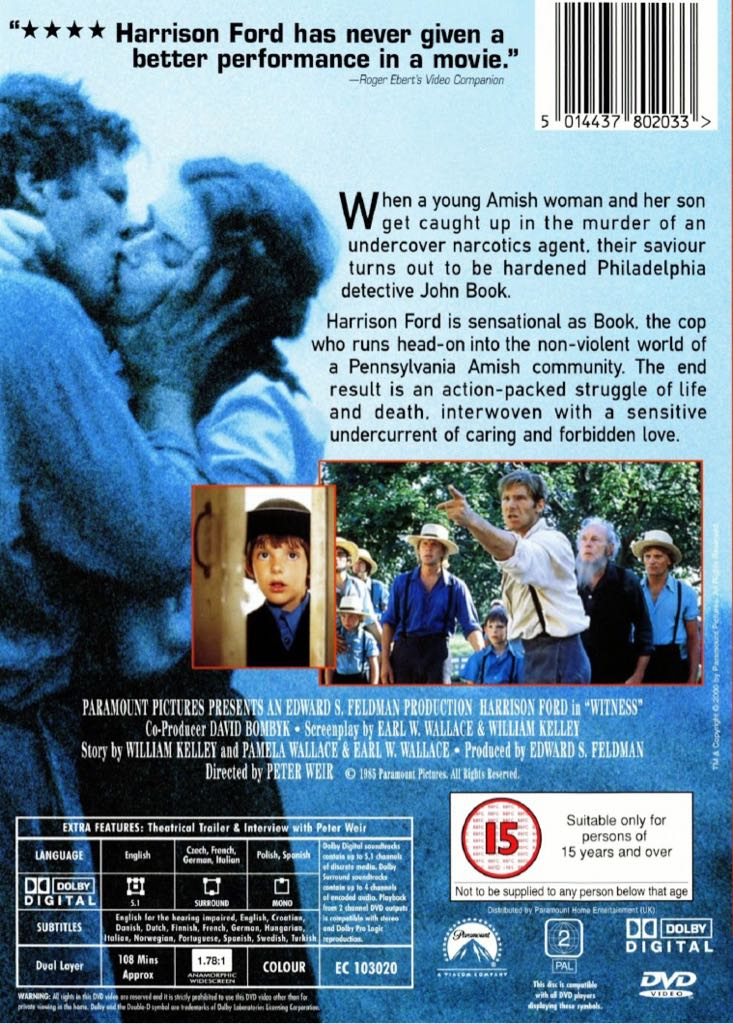 peter weir witness forbidden love Witness hd pg closed captioning peter weir view more in drama interwoven with a sensitive undercurrent of caring and forbidden love credits actors.