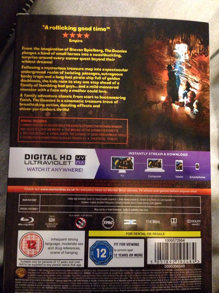 The Goonies Movie - Blu-ray (UK) back image (back cover, second image)