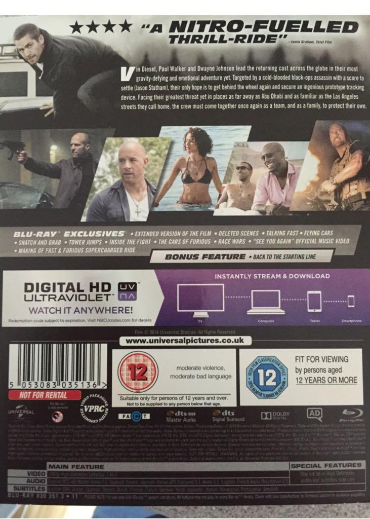 The Fast & The Furious 7: Furious 7 Movie - Blu-ray/Digital