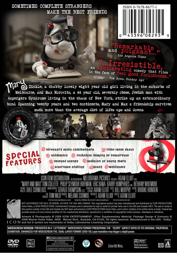 Mary Und Max Eng Dvd5 Movie Dvd England From Sort It Apps