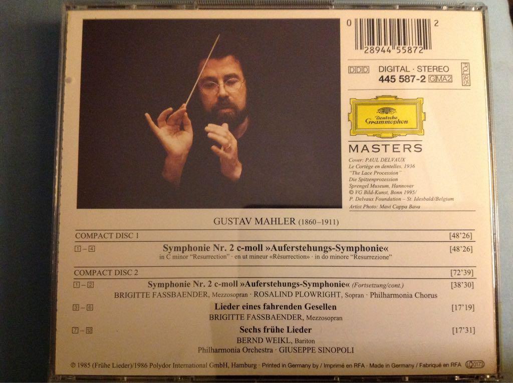 Mahler: Symphonie No. 2- Lieder Eines Fahrenden Gesellen Music - Giuseppe Sinopoli (CD) back image (back cover, second image)