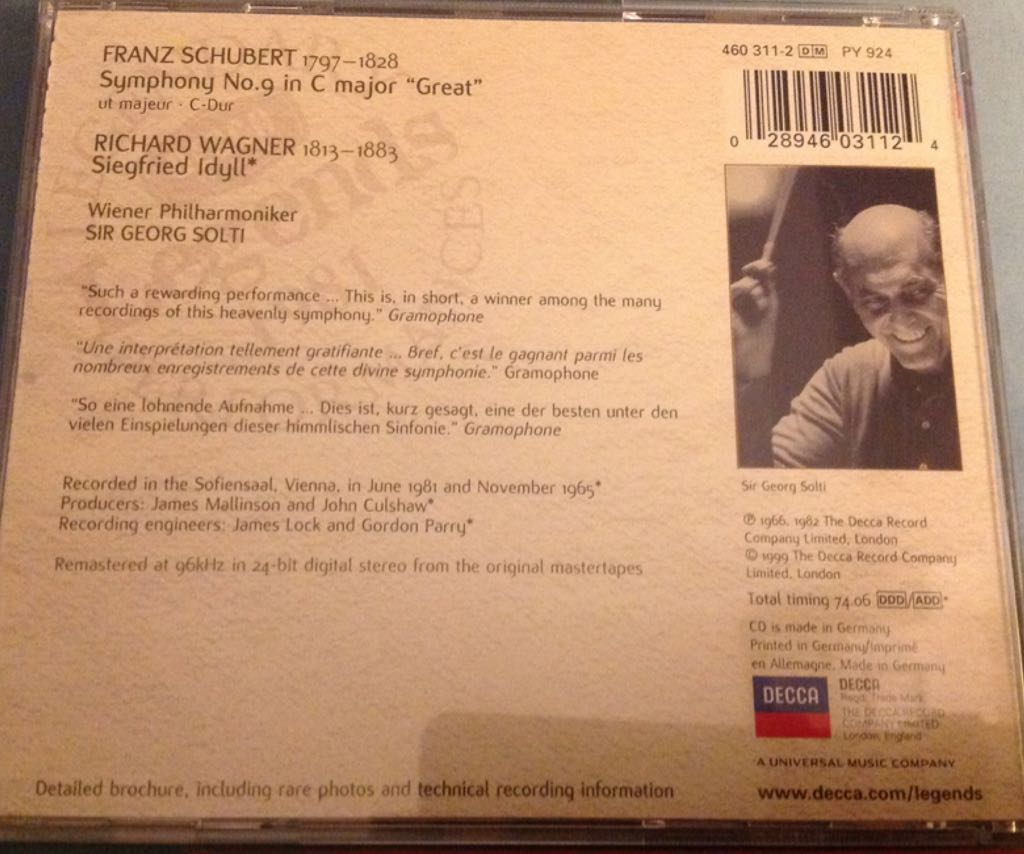 Schubert: Symphony No 9 / Wagner: Siegfried Idyll ~ Solti, Vienna Philharmonic O Music - Solti (CD) back image (back cover, second image)