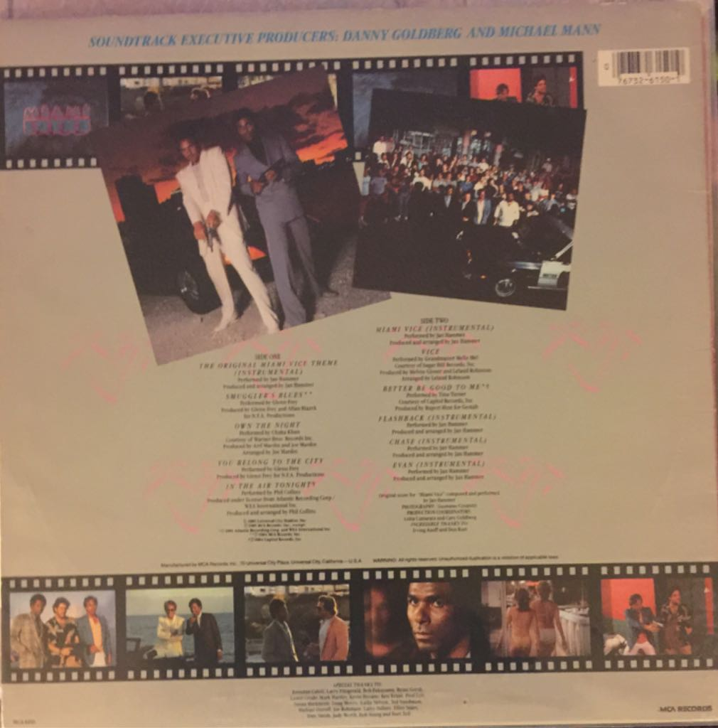 "Miami Vice - Music from the Television Series Music - Various (12"" 33 1/3 rpm Record) back image (back cover, second image)"