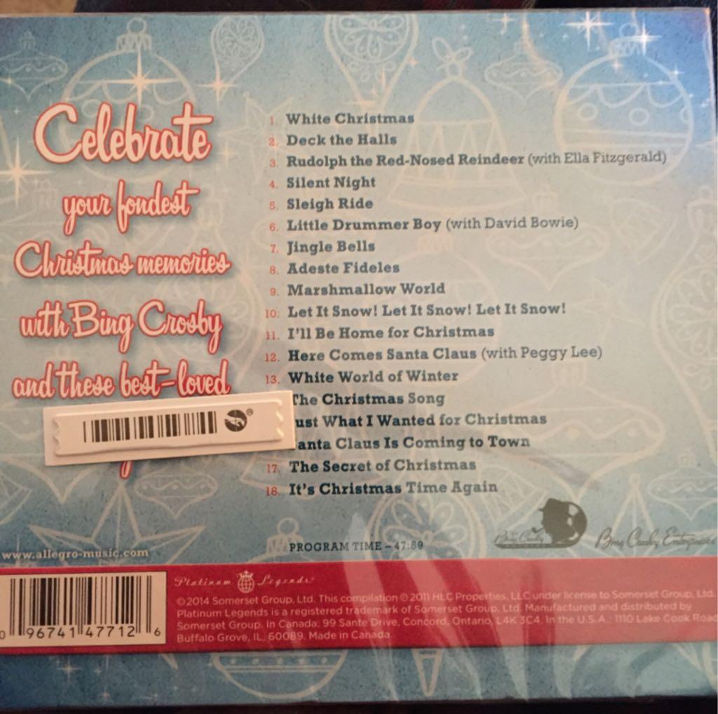bing crosby christmas favorites music bing crosby cd back image back cover - Bing Crosby Christmas Music