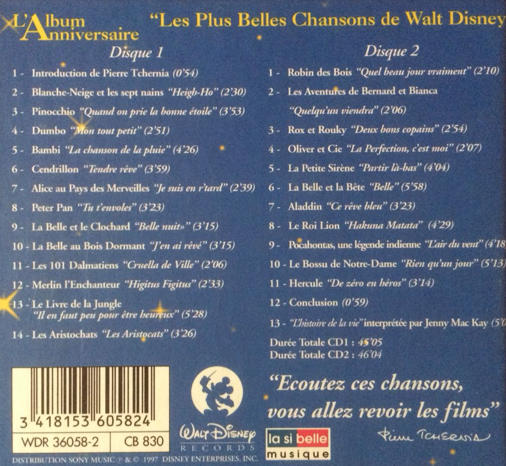 Walt Disney L Album Anniversaire Music Disney Walt Cd From