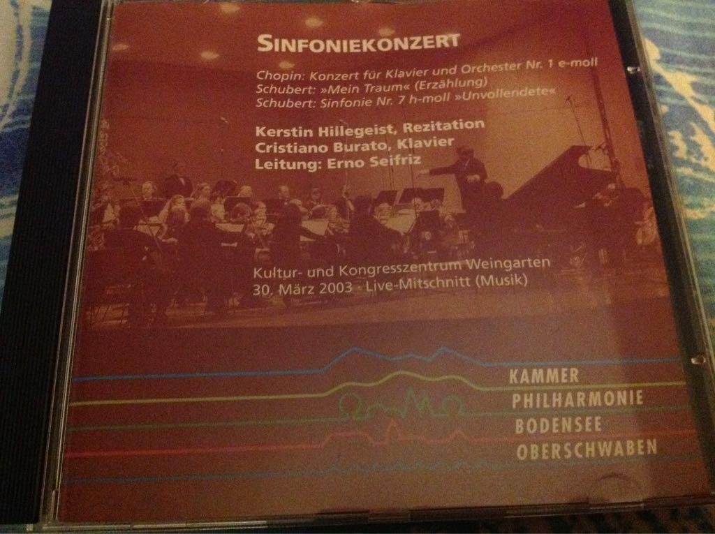 Sinfonienkonzert Music - Cristiano Burato ,Erno Seifriz, Kerstin Hillegeist (CD) front image (front cover)