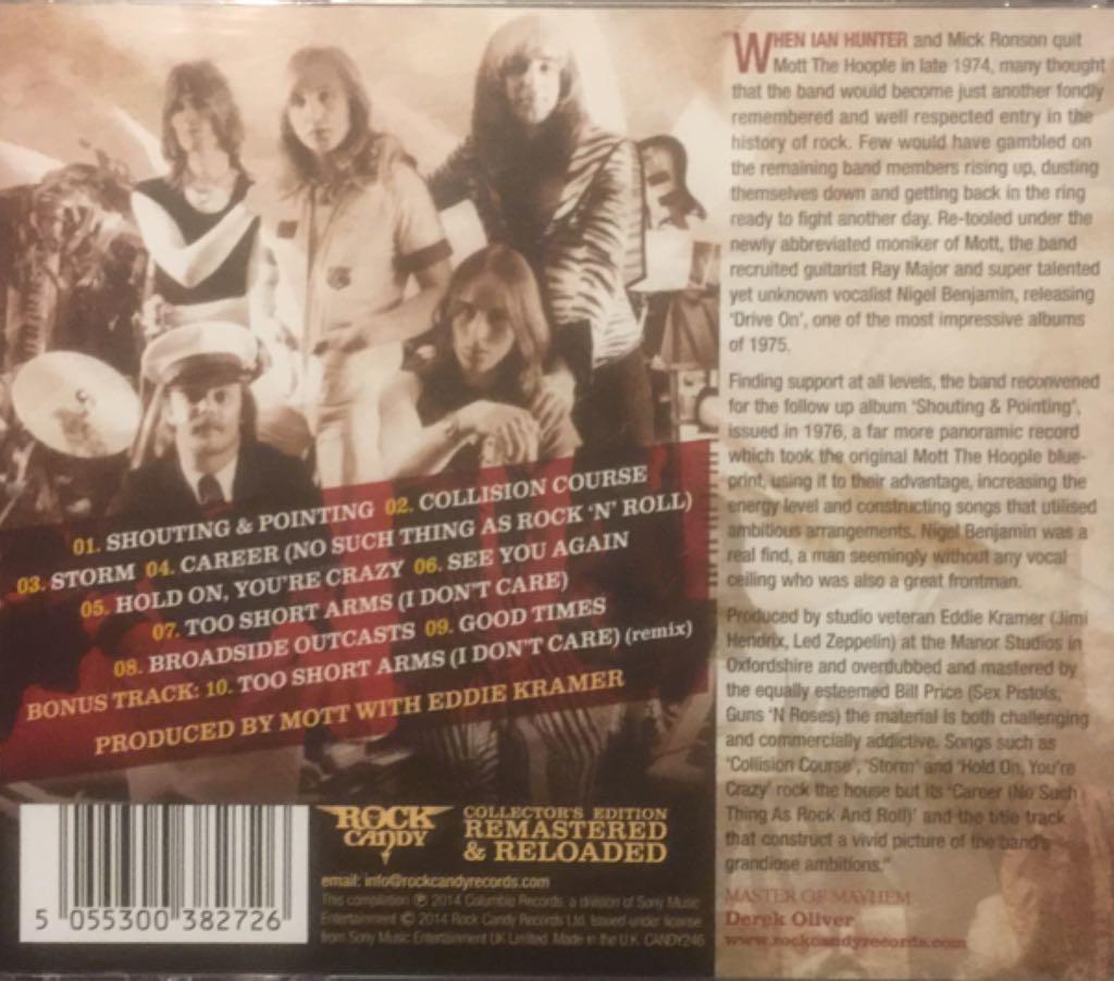 Shouting And Pointing (Bonus CD) Music - Mott (CD) back image (back cover, second image)