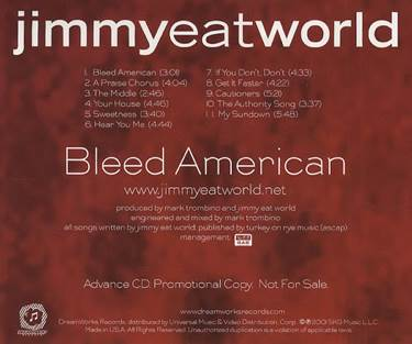 Bleed American Music - Jimmy Eat World (CD) back image (back cover, second image)