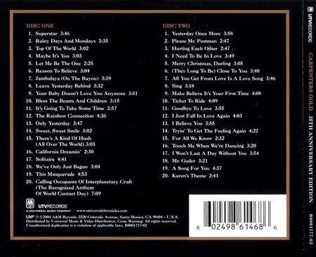 Gold 35th Anniversary Edition Music - Carpenters (CD) back image (back cover, second image)