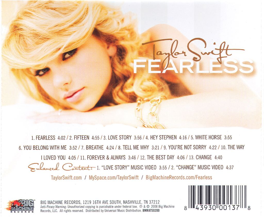 Swift, Taylor Music - Swift, Taylor (CD) back image (back cover, second image)