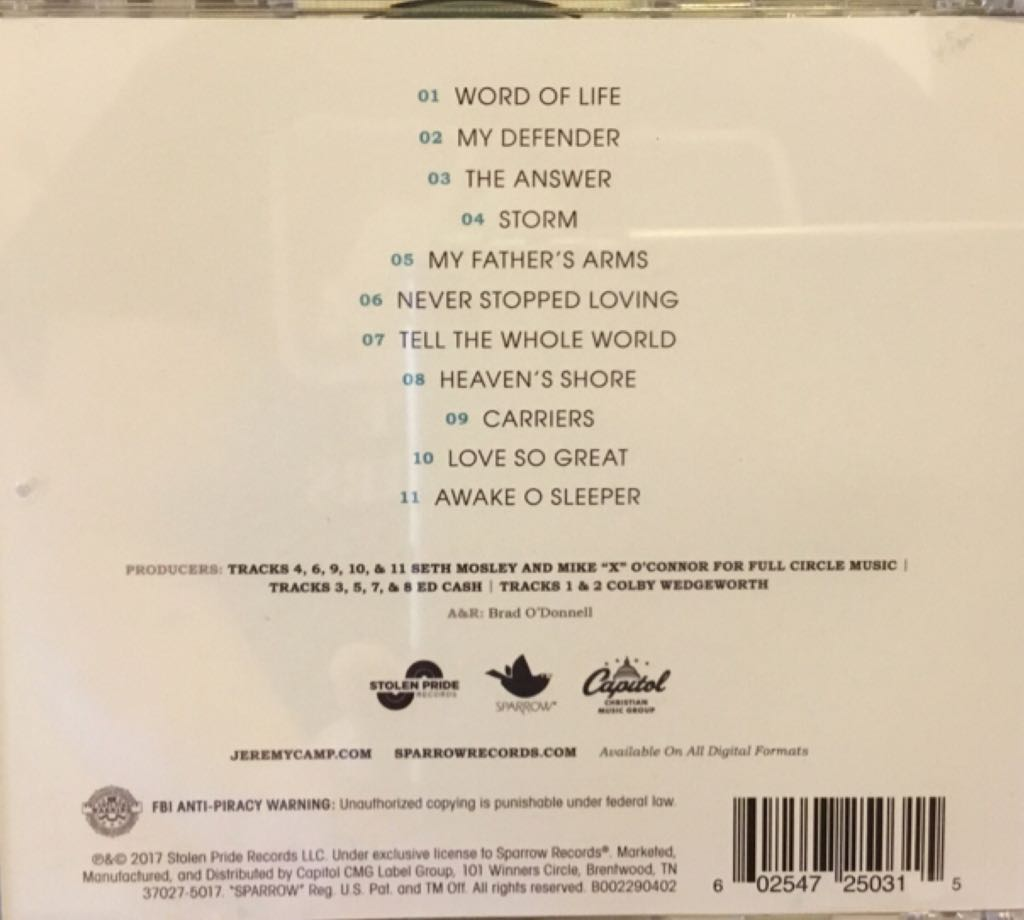 The Answer Music - Jeremy Camp (CD) back image (back cover, second image)