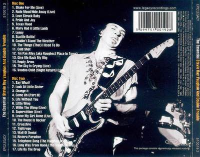 The Essential - Stevie Ray Vaughn Music - Stevie Ray Vaughan & Double Trouble (CD) back image (back cover, second image)