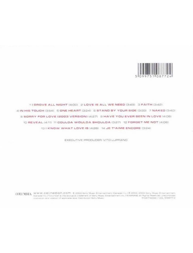 One Heart Music - Dion, Celine (CD) back image (back cover, second image)